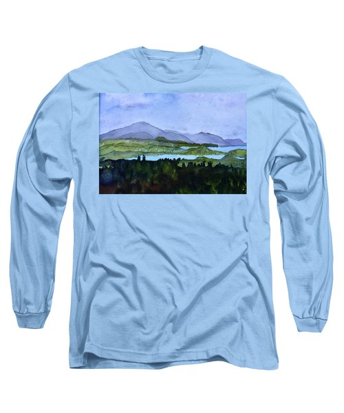 Long Sleeve T-Shirt featuring the painting Newport From Brownington Lookout by Donna Walsh