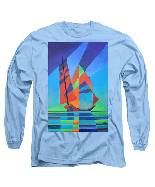 Long Sleeve T-Shirt featuring the painting Nightboat by Tracey Harrington-Simpson