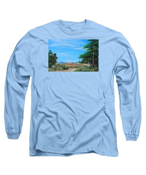 Nipa Hut In The Barrio Long Sleeve T-Shirt by Remegio Onia