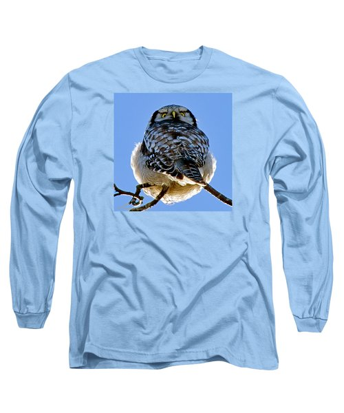 Northern Hawk Owl Looks Around Long Sleeve T-Shirt
