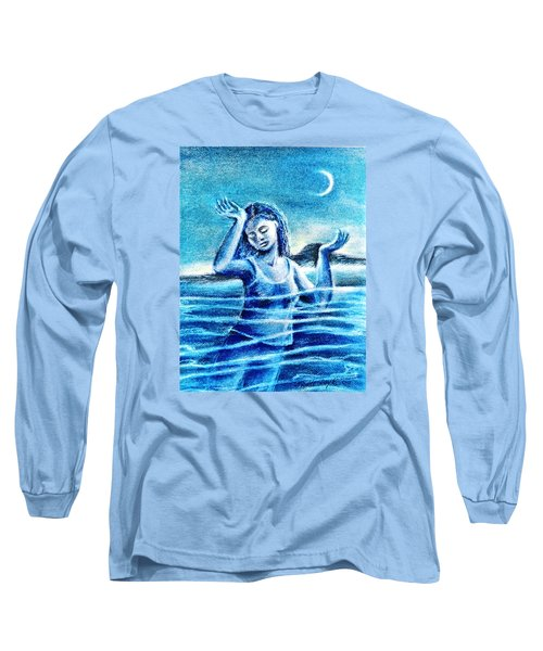 Long Sleeve T-Shirt featuring the painting Not Waving But Drowning by Trudi Doyle