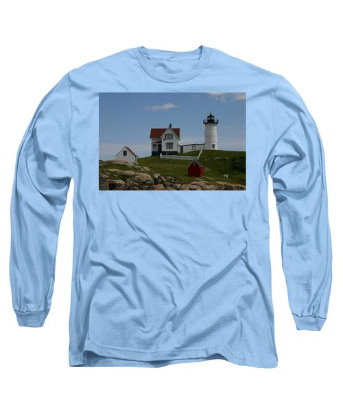 Long Sleeve T-Shirt featuring the photograph Nubble Light House York Maine by Denyse Duhaime