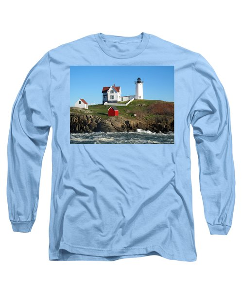 Long Sleeve T-Shirt featuring the photograph Nubble Lighthouse One by Barbara McDevitt