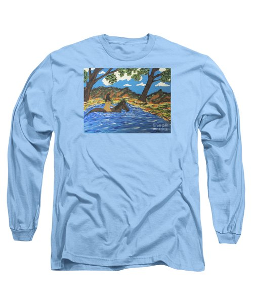 Long Sleeve T-Shirt featuring the painting Nude And Bareback Swim by Jeffrey Koss