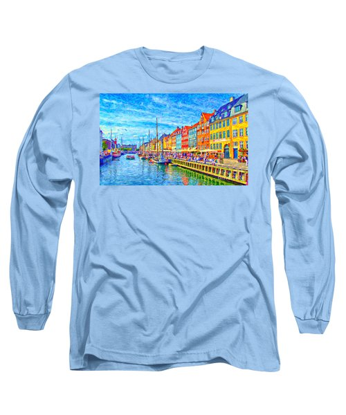 Nyhavn In Denmark Painting Long Sleeve T-Shirt by Antony McAulay