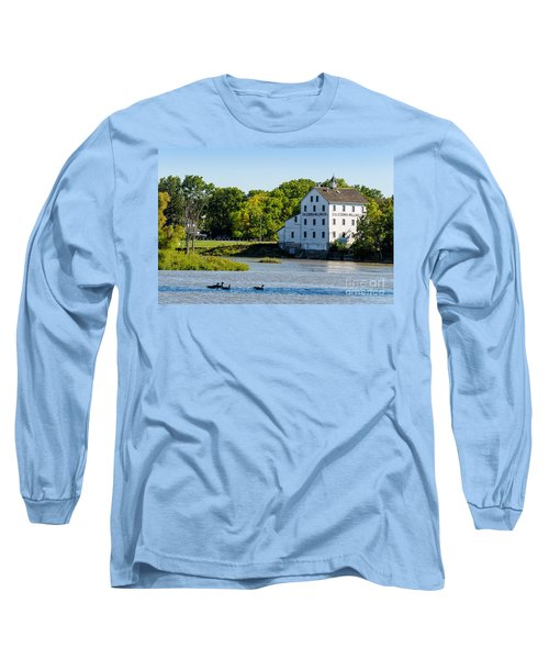 Old Mill On Grand River In Caledonia In Ontario Long Sleeve T-Shirt