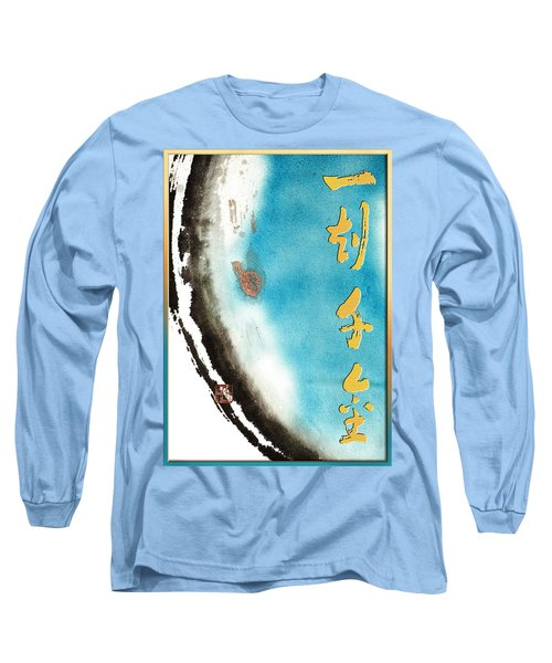 Long Sleeve T-Shirt featuring the mixed media One Moment Thousand Gold - Every Moment Is Precious by Peter v Quenter