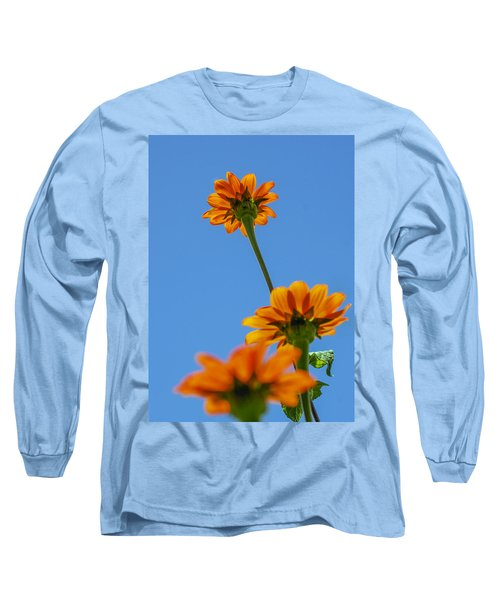 Long Sleeve T-Shirt featuring the photograph Orange Flowers On Blue Sky by Debbie Karnes