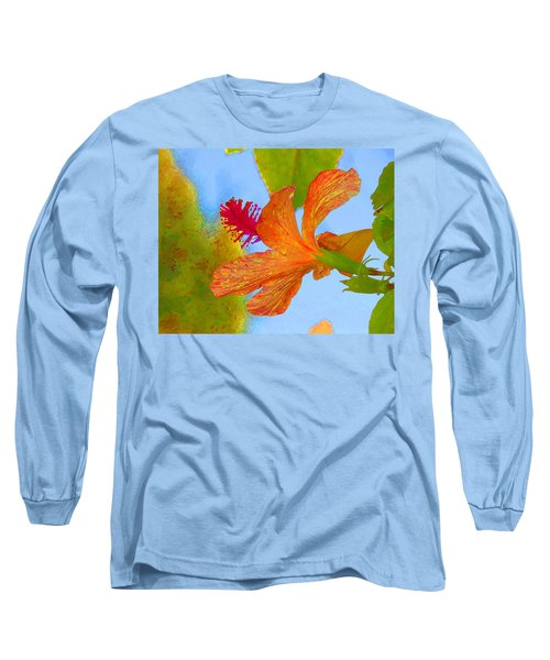 Orange Hibiscus  Long Sleeve T-Shirt