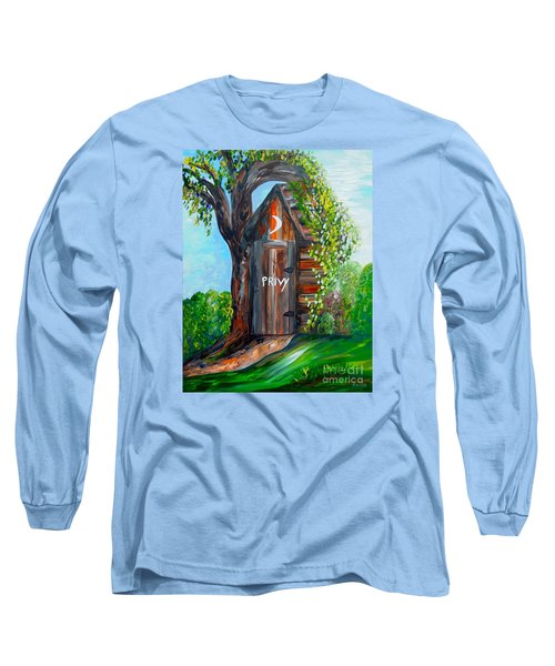 Long Sleeve T-Shirt featuring the painting Outhouse - Privy - The Old Out House by Eloise Schneider