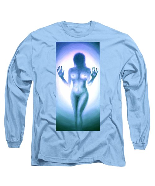 Long Sleeve T-Shirt featuring the photograph Outsider Series - Trapped Behind The Glass - In Blue by Lilia D