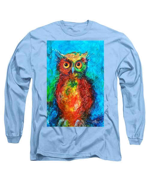 Long Sleeve T-Shirt featuring the painting Owl In The Night by Faruk Koksal