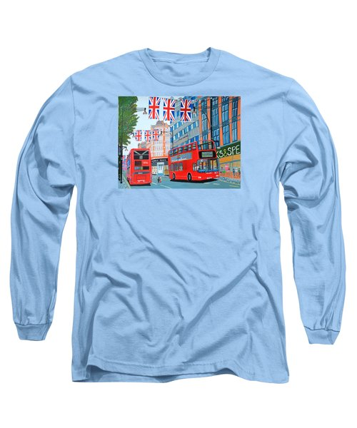 Oxford Street- Queen's Diamond Jubilee  Long Sleeve T-Shirt by Magdalena Frohnsdorff