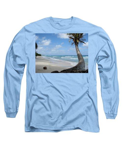 Palm Tree On The Beach Long Sleeve T-Shirt