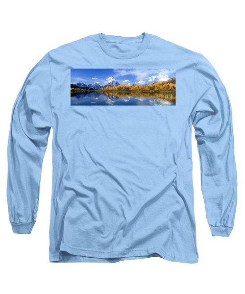 Panorama Fall Morning At Oxbow Bend Grand Tetons National Park Long Sleeve T-Shirt by Dave Welling