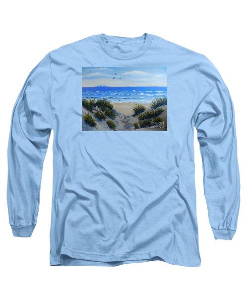 Path Through The Sand Dunes Long Sleeve T-Shirt by Pamela  Meredith