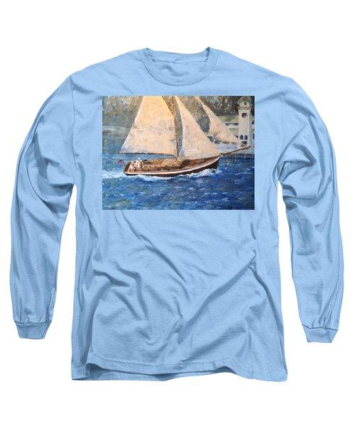 Patriot At Catalina Lighthouse Long Sleeve T-Shirt