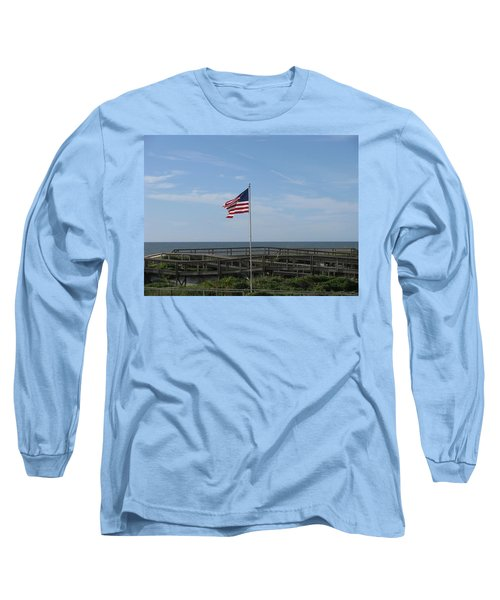 Patriotic Beach View Long Sleeve T-Shirt