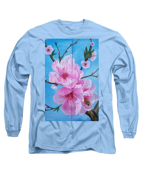 Peach Tree In Bloom Diptych Long Sleeve T-Shirt