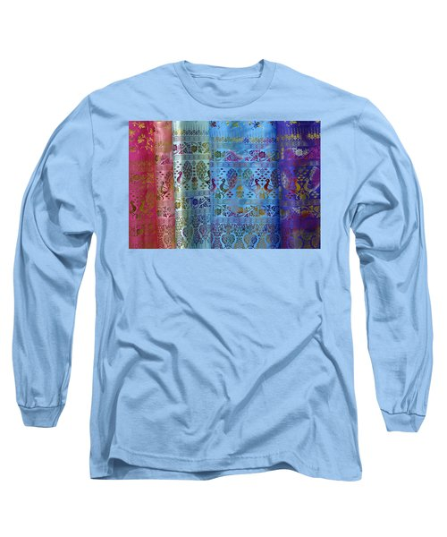 Peacocks On Silk Long Sleeve T-Shirt