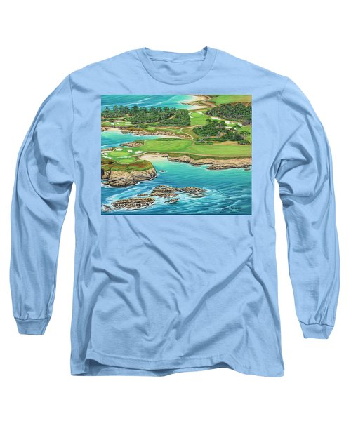 Pebble Beach 15th Hole-south Long Sleeve T-Shirt by Jane Girardot