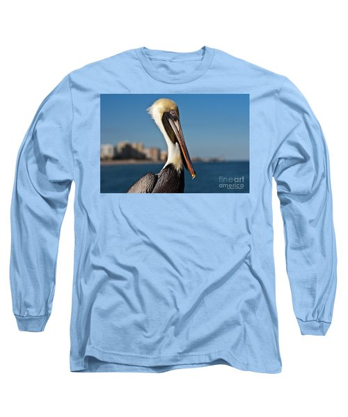 Long Sleeve T-Shirt featuring the photograph Pelican by Barbara McMahon