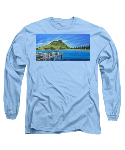Long Sleeve T-Shirt featuring the painting Pilot Bay Mt Maunganui 201214 by Selena Boron
