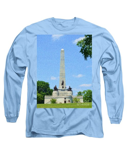 Long Sleeve T-Shirt featuring the digital art Pointelisticlincoln's Tomb  by Luther Fine Art