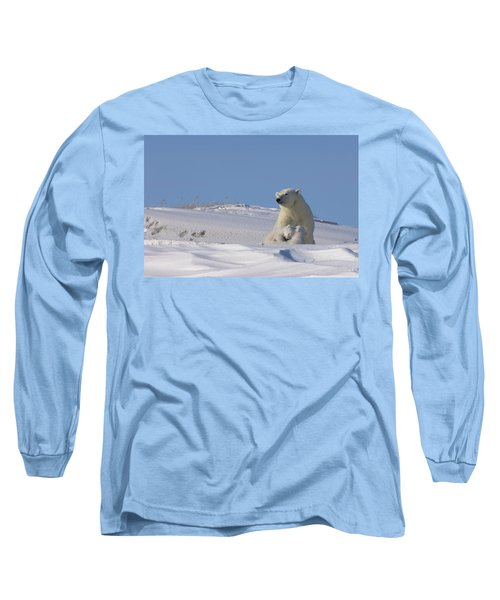 Polar Bear Sits Outside Her Den Long Sleeve T-Shirt