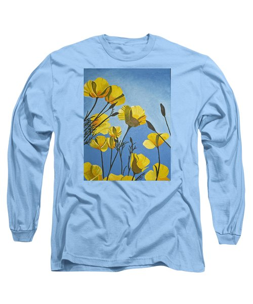 Long Sleeve T-Shirt featuring the painting Poppies In The Sun by Donna Blossom