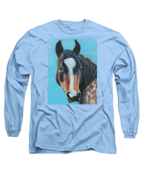 Portrait Of A Wild Horse Long Sleeve T-Shirt by Jeanne Fischer