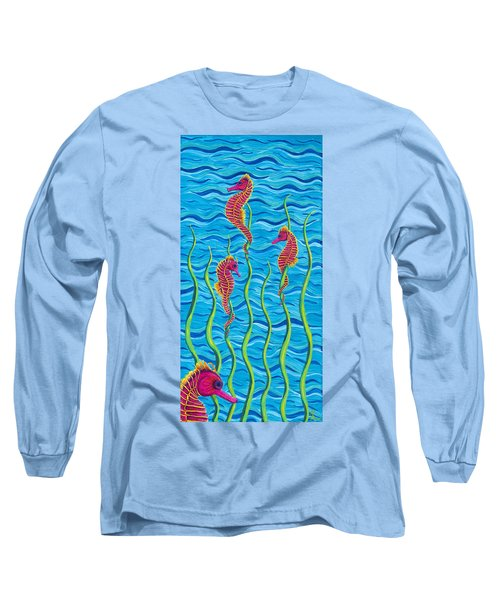Poseidon's Steed Painting Bomber Long Sleeve T-Shirt by Rebecca Parker