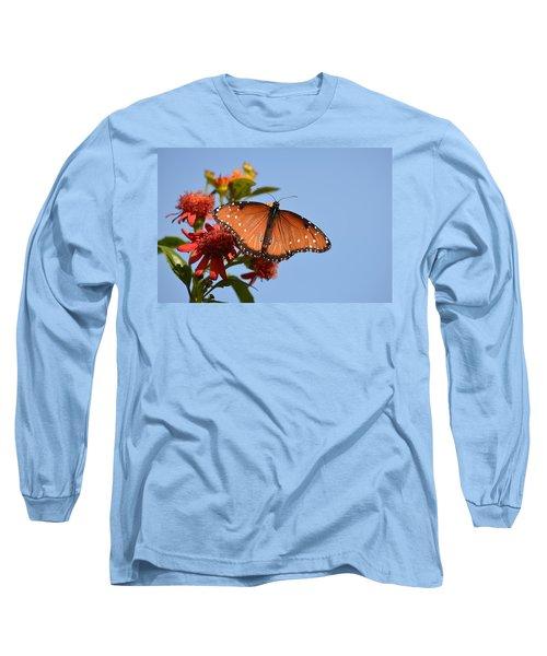 Long Sleeve T-Shirt featuring the photograph Queen Butterfly by Debra Martz
