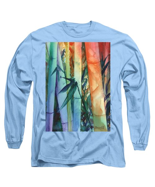 Long Sleeve T-Shirt featuring the painting Rainbow Bamboo 2 by Marionette Taboniar