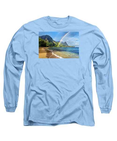 Rainbow Over Haena Beach Long Sleeve T-Shirt by M Swiet Productions