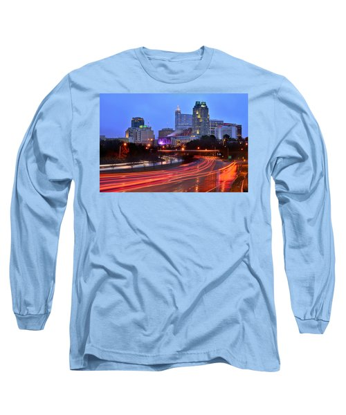 Long Sleeve T-Shirt featuring the photograph Raleigh Skyline At Dusk Evening Color Evening Panorama North Carolina Nc by Jon Holiday