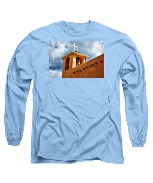 Long Sleeve T-Shirt featuring the photograph Rancho De Taos Bell Tower And Cross by Lanita Williams