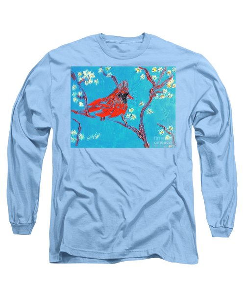 Long Sleeve T-Shirt featuring the painting Red Cardinal Spring by Richard W Linford