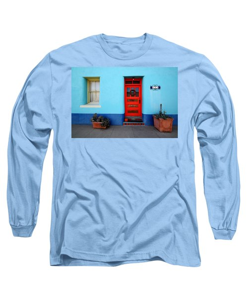 Red Door On Blue Wall Long Sleeve T-Shirt by Joe Kozlowski