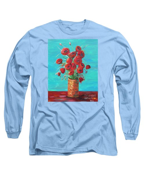 Long Sleeve T-Shirt featuring the painting Red On My Table  by Eloise Schneider