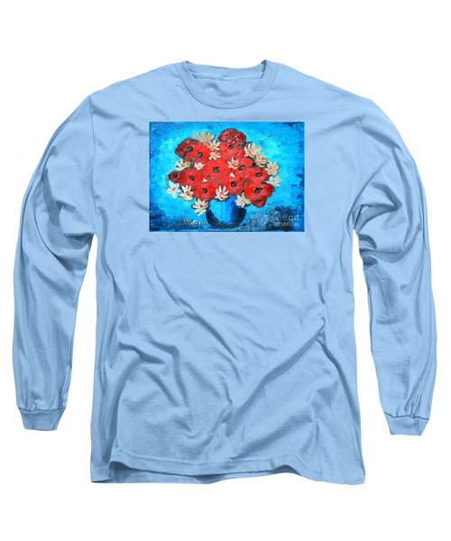 Long Sleeve T-Shirt featuring the painting Red Poppies And White Daisies by Ramona Matei
