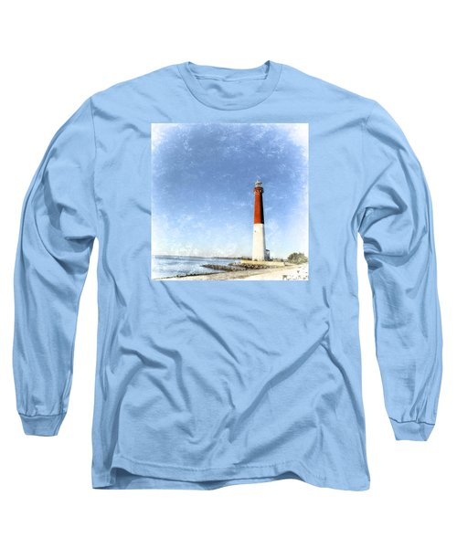 Long Sleeve T-Shirt featuring the photograph Retro Barnegat Lighthouse Barnegat Light New Jersey by Marianne Campolongo