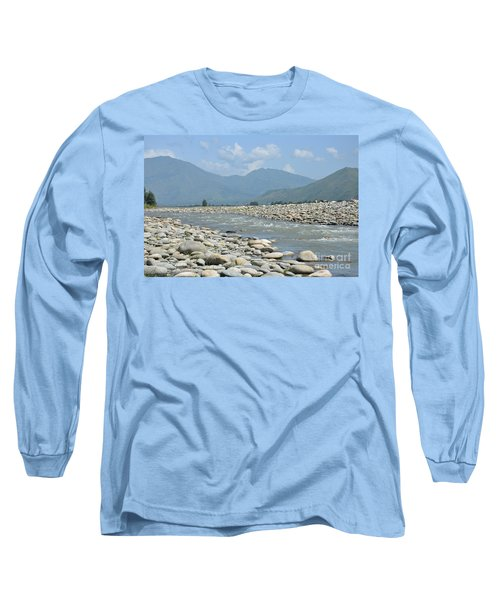 Riverbank Water Rocks Mountains And A Horseman Swat Valley Pakistan Long Sleeve T-Shirt by Imran Ahmed