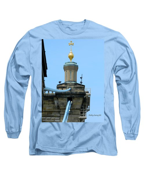 Long Sleeve T-Shirt featuring the photograph Roebling Bridge From Kentucky by Kathy Barney