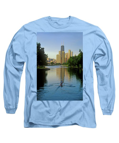Rower On Chicago River With Skyline Long Sleeve T-Shirt