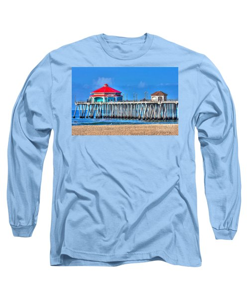 Ruby's Surf City Diner - Huntington Beach Pier Long Sleeve T-Shirt by Jim Carrell