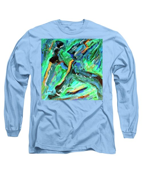 Long Sleeve T-Shirt featuring the painting Runners by Dominic Piperata