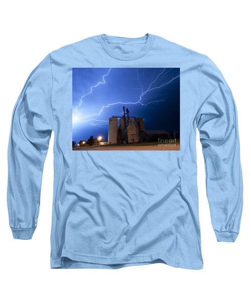 Long Sleeve T-Shirt featuring the photograph Rural Lightning Storm by Art Whitton