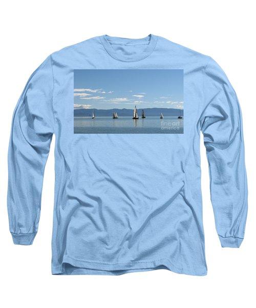 Sailboats In Blue Long Sleeve T-Shirt