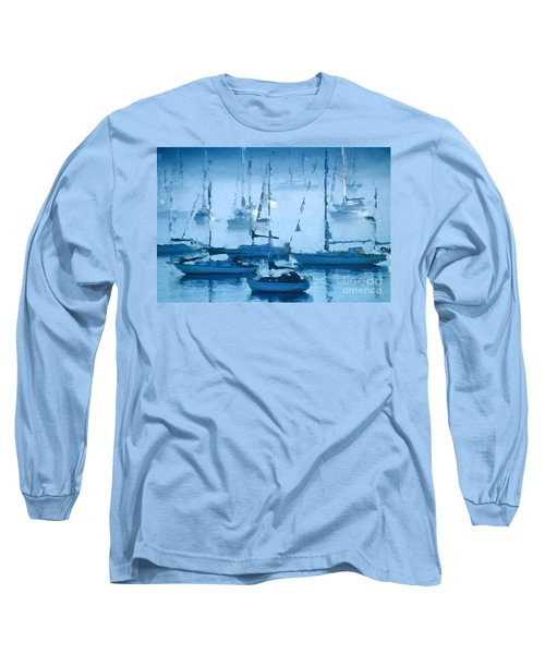 Sailboats In The Fog II Long Sleeve T-Shirt by David Perry Lawrence